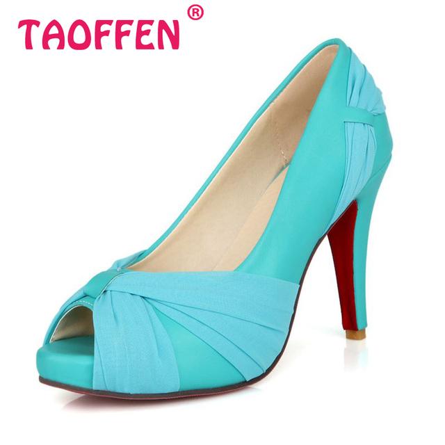 Размер 34 - 43 женские туфли на каблуках пип-ноги сандалии платье модной обуви мода ...