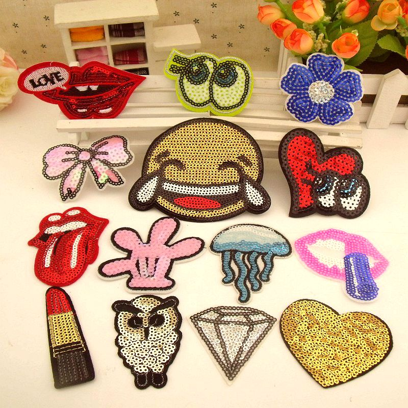 New Arrival Mixed 14 Pcs Popular Sequins Embroidered Patches Iron On Cartoon Motif DK Applique ...