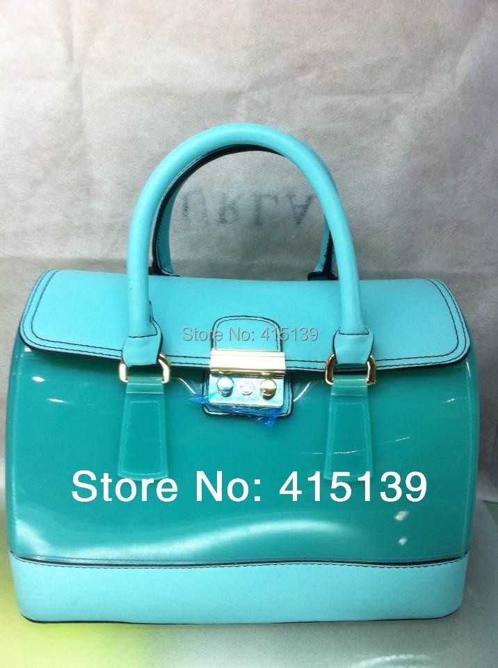 2014 new fashion women handbags barrel bag ladys wristlets fluorescent candy waterproof beach bags jelly pillow totes