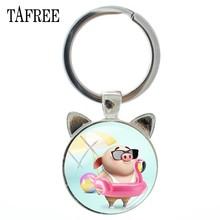 TAFREE Moda Encantador Porco Tempo Gem Mulheres Keychain Chave Pingente Cadeia de Jóias de Prata Antigo Gato Orelha Anel Chave PG52(China)