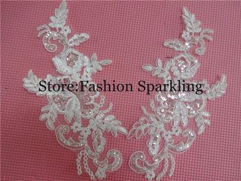 1Pair 23X 13cm Free Shipping Delicate Wedding Veil Head Ornaments Lace Applique Lace Trim Dress DIY Lace Accessories BD0096