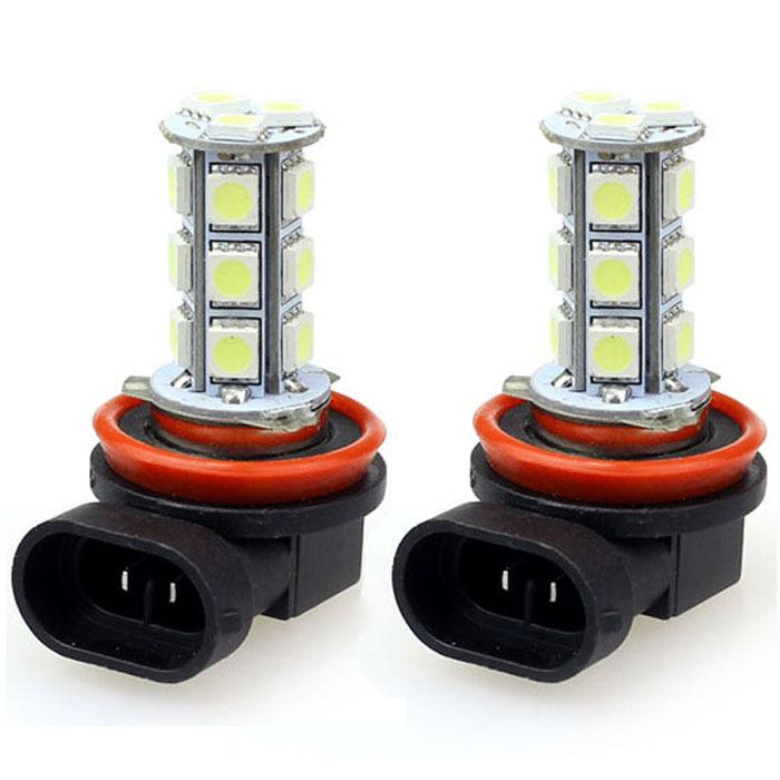 New 2x H11 H8 18 LED 5050 SMD Car Day Fog Head light Lamp Bulb Xenon White Jecksion(China (Mainland))