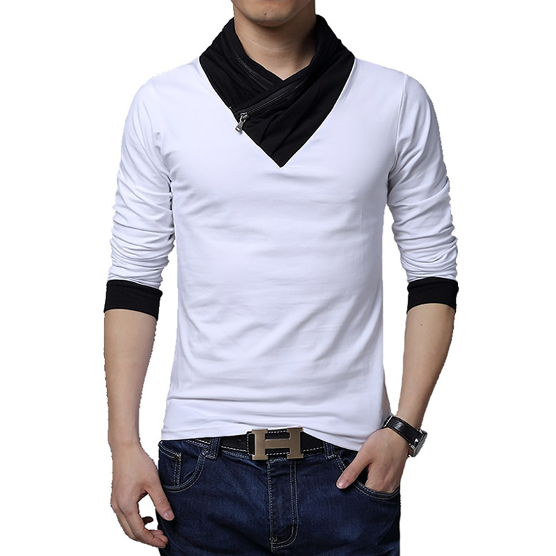 Hot sale 2016 new fashion brand irregular collar slim fit New designer t shirts