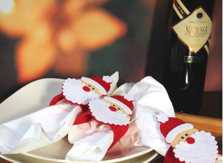 12pcs /lot Christmas Santa Napkin Ring Table Decor Napkin Holder for Christmsa Hotel Napkin holder, Christmas table decoration(China (Mainland))
