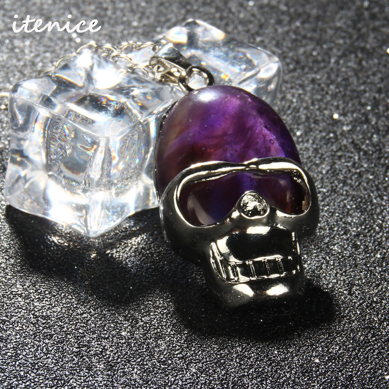 2016 Hot Charm Silver Plated Amethyst Crystal Natural Stone Skull Pendant Accessories Fashion Jewelry Punk Pendant Necklace(China (Mainland))