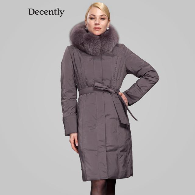 Decently 2015 зимние куртки пуховик женский одежда для женщин куртка зимняя женская женские пальто пальто парка женская лиса Мех RUS Бесплатная Доставка 1A1084