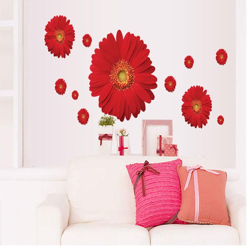 3d Wall Decor Flower Garden : New decorative combination diy flower d wall stickers