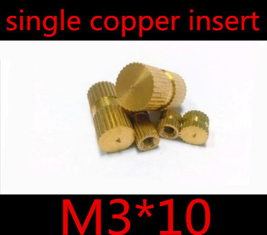 200pcs/lot M3*10 M3 x 10 Blind End Brass Insert  Nut , Single Thread  Brass Knurl Nut  OD=4.1mm<br><br>Aliexpress