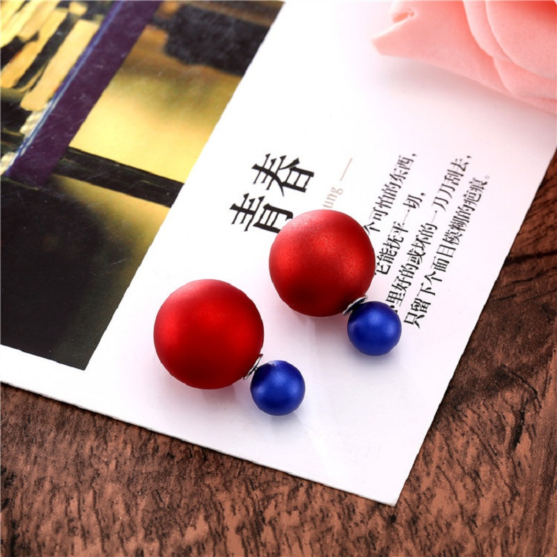 Double Side Ball Pusety Stud Earrings Women Candy Color boucle d'oreille femme bijoux Party Statement Jewelry Lady Ear Stud Nail(China (Mainland))