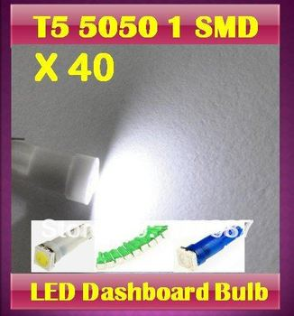 HOT! 40 X T5 5050 1 SMD Led bulb Wedge Base for Dashboards Gauge bulbs Instrument Panel Light -mixed colors
