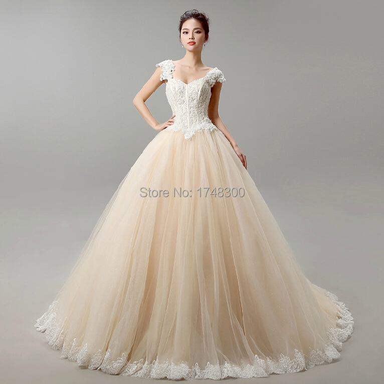 2015 Latet Champagne White Ball Wedding Dresses Sexy Tulle