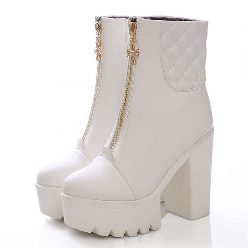 martin boots soft leather square heel high boots new white