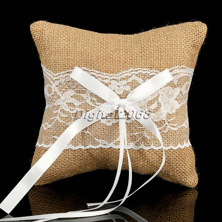 Hot Sale 1Pcs Wedding Party Vintage Lace Burlap Jute Ring Bearer Pillow Cushion Wedding Favours Supplies 15cm x 15cm(China (Mainland))