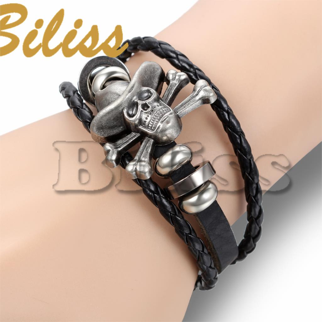 21.5cm Vintage Men Jewelry Black Leather Bracelets with Skull for Men Multilayer Braided Wrap Bracelet & Bangles pulsera hombre(China (Mainland))