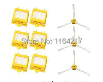 6 Pcs Heap Filter +3 sibe brush 3 Armed kit for iRobot Roomba 700 Series 760 770 780 790 Vacuum Cleaner Accessory parts(China (Mainland))