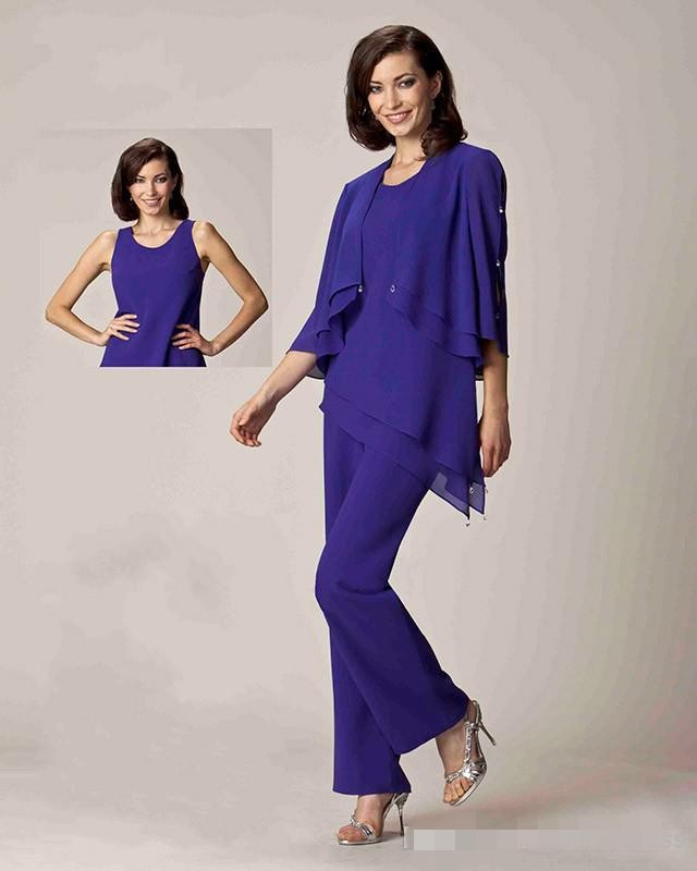 2016 Collection Mother Of The Bride Dresses Formal Evening Pant Suits Dress Three Quarter Sleeve ...
