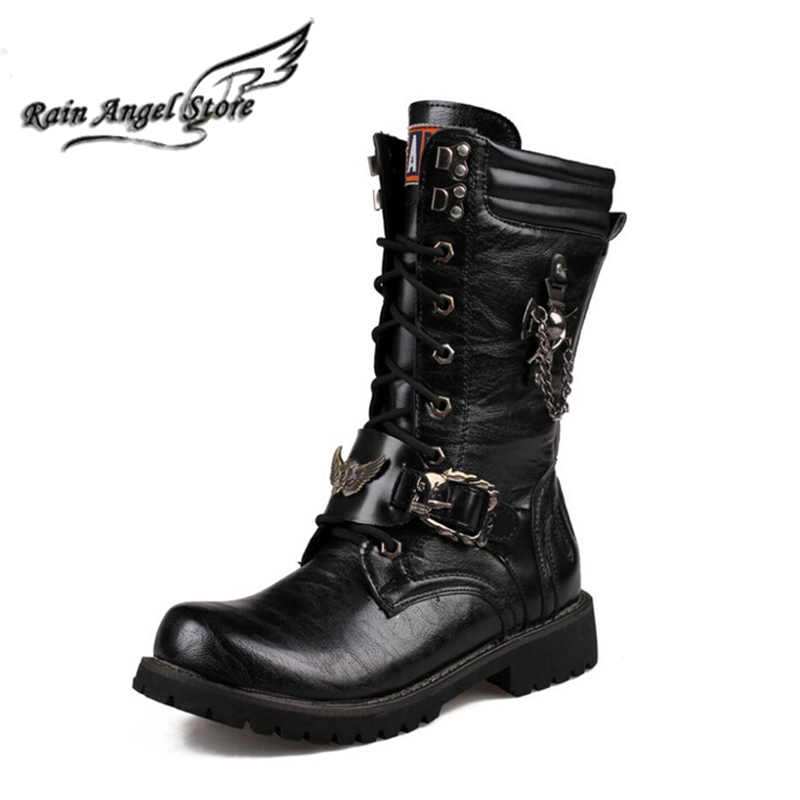 Quality Fashion High-top Men Boots Belt Buckle Metal Chains Decorative Motorcycle Winter British Combat Black boats - Rain Angel store
