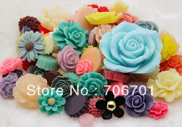 Free shipping 10-42mm Mixed Designs Resin Flower Cabochons Jewelry DIY Accessorie 20PCS/LOT