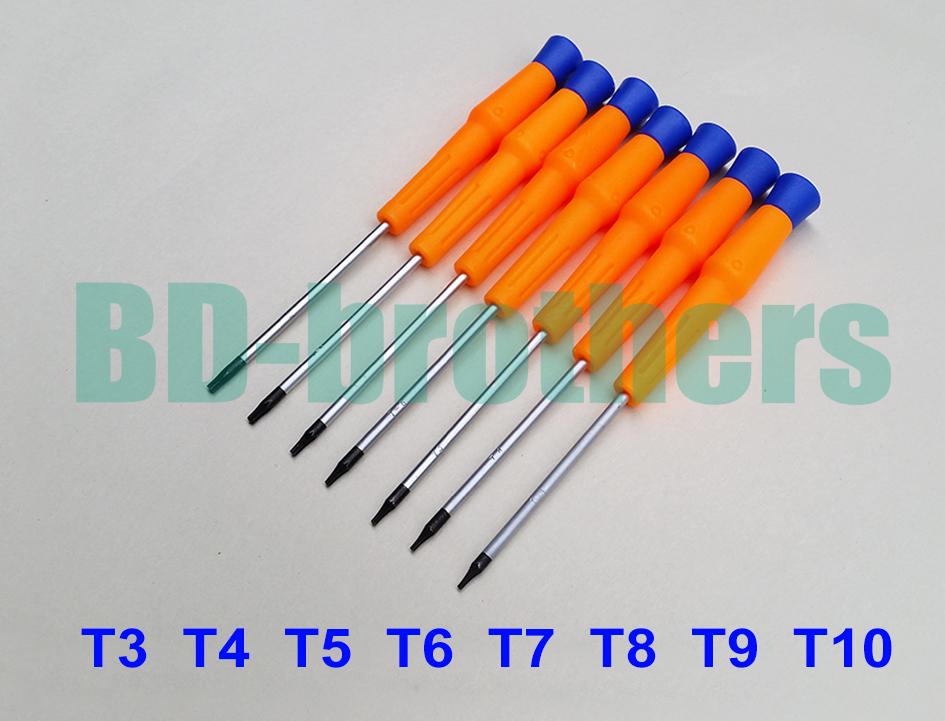 Orange 140mm CR-V Screwdriver, PVC Handle Screwdrivers T3 T4 T5 T6 T7 T8 T9 T10 Repair Tool 100pcs/lot(China (Mainland))