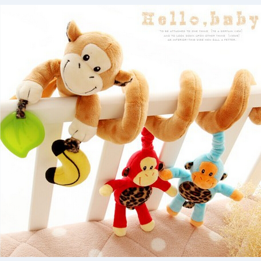 Happy Monkey baby bed crib Hanging Bell Newborn Baby Educational Rattles/Mobile toys 3-12 months Plush  -  Child Kingdom store