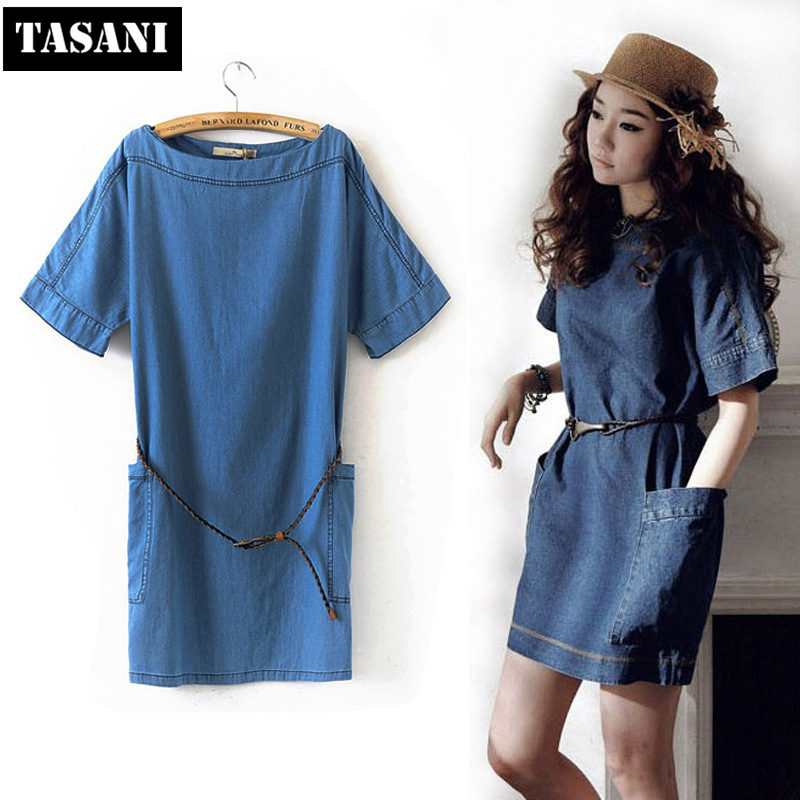 2015 New Fashion Summer Canvas Slim Casual Women Straight Dress American Style O-Neck Sweet I3068 - TASANI store