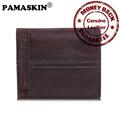2017 New Arrivals Vintage 100 Genuine Leather Bi fold Short Men Wallets with Detachable Card Holder