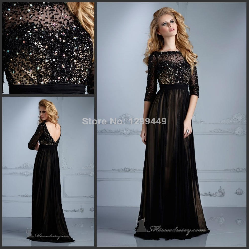 Prom Dress To Party 2014 Fanshionable Style Sexy Open Back Vestidos Festa Black Sexy Floor-Length Custom Made Long Evening Gown(China (Mainland))