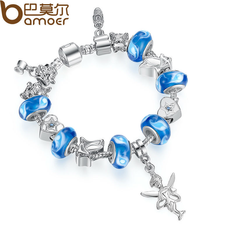 Dropping Shipping European Silver Chain Bracelet for Women With Angel Charm Murano Glass Beads Christmas Jewelry PA1192(China (Mainland))