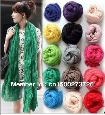 (Min order is $10) HOt Sale Women Long Big Crinkle Voile Soft Scarf pashmina Shawl Stole Pure Candy 21 Color