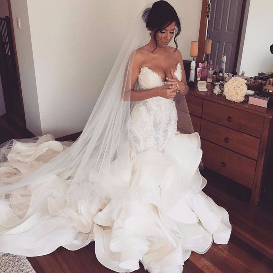 organza and lace mermaid wedding gowns