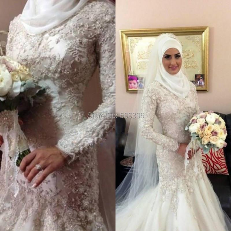 Elegant mermaid muslim wedding dress long sleeves bridal for Wedding dresses in dubai prices