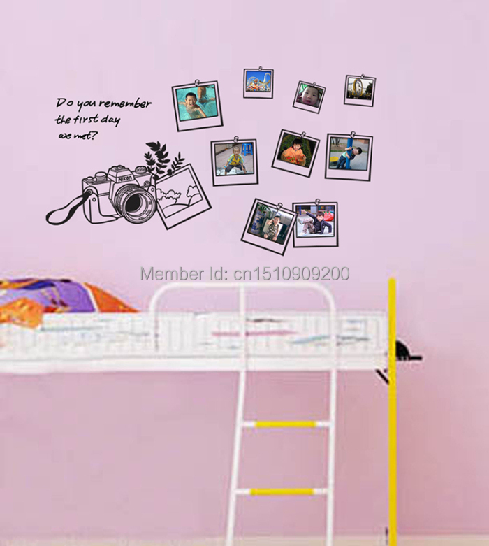 HOT Family Photos Camera Home Decor Wall Sticker For Kids Room Paper Stickers For Living Room Multi-piece Wedding Decor Stickers(China (Mainland))
