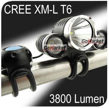 3x CREE XM-L T6 LED & 2x XPE R2 3800Lm Bike Bicycle Light Lamp HeadLamp HeadLight SET