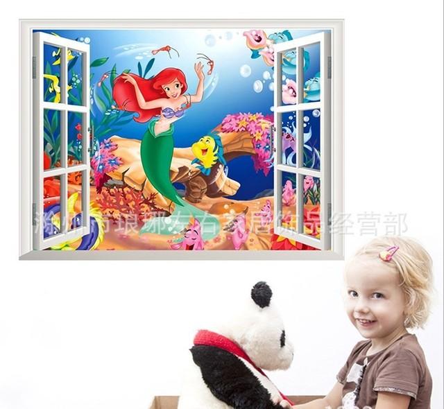 1424 новинка мультфильм русалка принцесса стены стикеры окна стены винила переводные картинки съемный 3d искусство