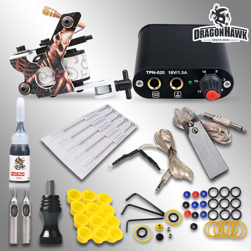 Beginner Complete Tattoo Kit Machine Guns Inks Needles Tattoo Power Supply MGT-18GD-3(China (Mainland))