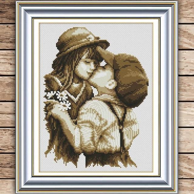 Красивые Рукоделия, DMC шарик вышивание, Наборы Для комплект Для вышивания, первый романтический поцелуй Счетный Вышивка Крестом # HA10447