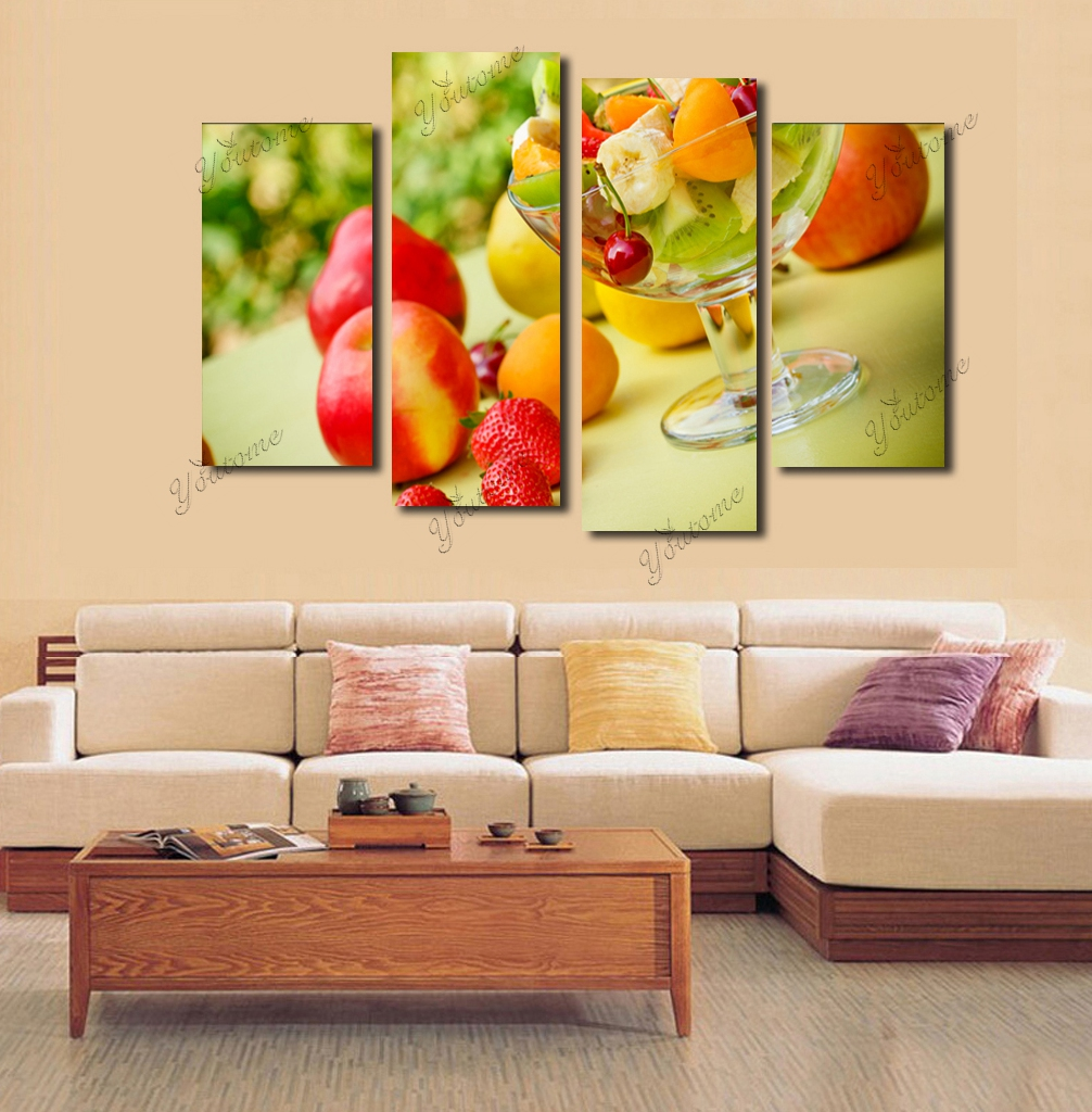Modern 4 piece canvas fruit wall decor home decoration for Piece of living room decor