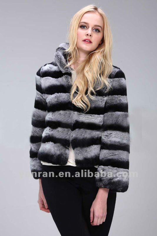 EMS/TNT/DHL Chinchilla color Women's genuine rex rabbit fur jacket YR-414 ~retail~OEM - Tongxiang Yanran Fur Factory store