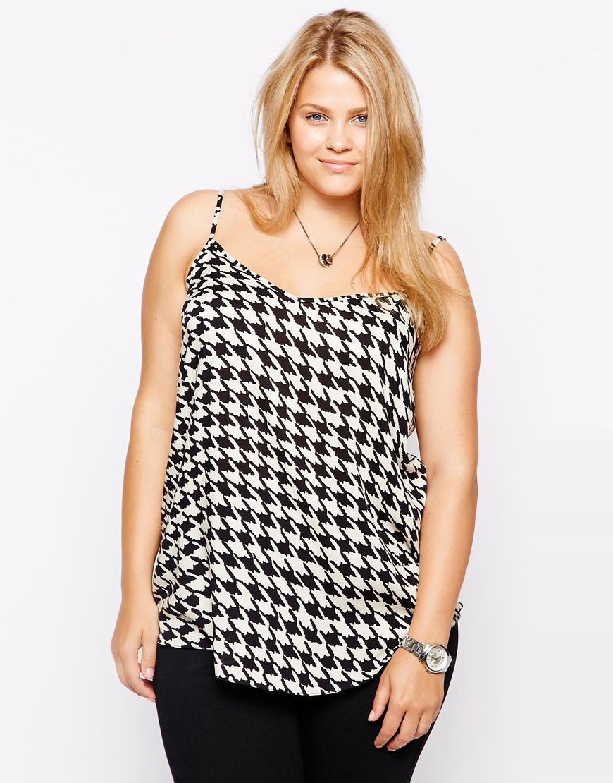 Womens designer camis plus size camis black and white houndstooth print tank casual top for wholesale and dropship(China (Mainland))