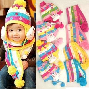 Wholesale 5Set/lot Baby hat + scarf set kids hats ear protection stripe cute cartoon rabbit Cotton Infant hat