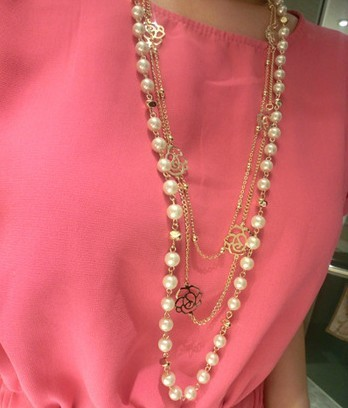 New 2016 Fashion Women Vintage Jewelry Ks Style Long Simulated Pearl Necklace Flower Sweater Chain