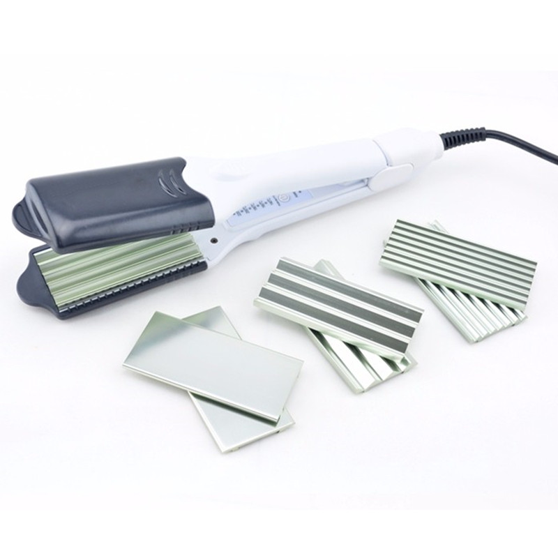 Hot Selling Multifunctional ceramic Double Voltage Hair Straightener curling Hair Curler Corrugated Iron With 4 Plate