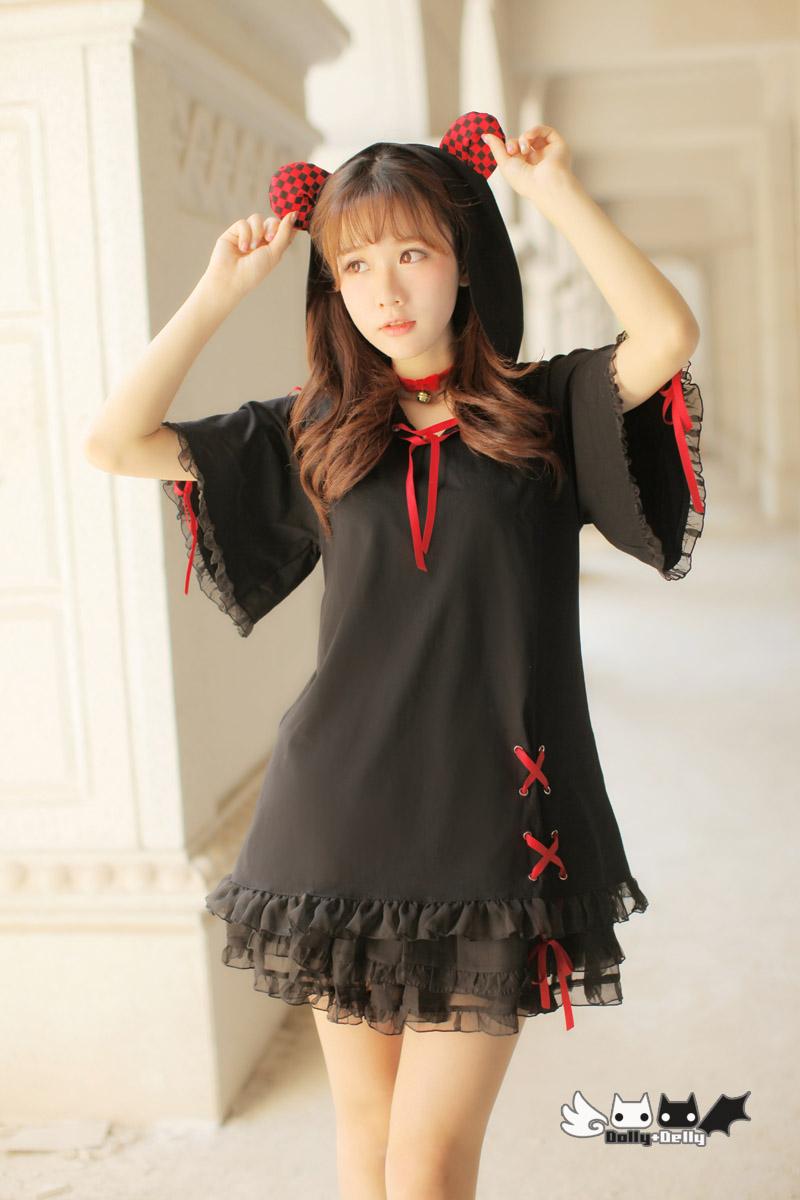 Princess sweet lolita shirt Draw string red, black little hamsters ears chiffon ruffled bat sleeve hooded  female long T-0031 Одежда и ак�е��уары<br><br><br>Aliexpress