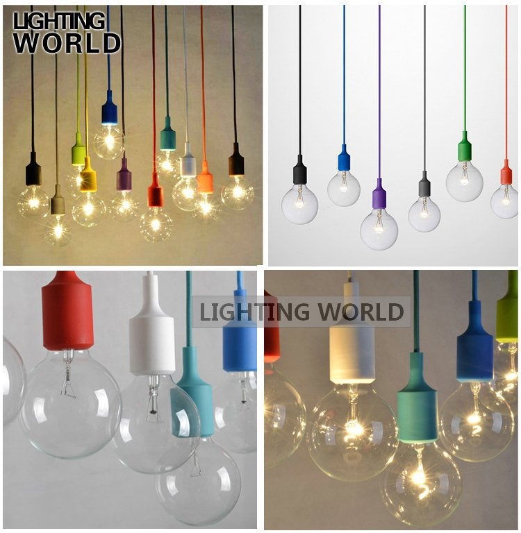 Hanging Lamp Lustre Colorful E27 Socket Pendant Light Suspension Drop Edison Bulbs Bar Restaurant Muuto Included - Crystal Lighting World store