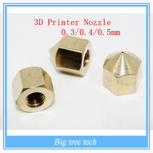 10pcs/lot 3D Printer Nozzle Makergear Prusa Head J-head Extrusion Nozzle Copper E3D Nozzle / Extruder 0.3/0.4/0.5MM