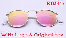 vintage high quality gold round metal frame pink mirror lens sunglasses women and men brand designer.oculos de sol masculino.(China (Mainland))