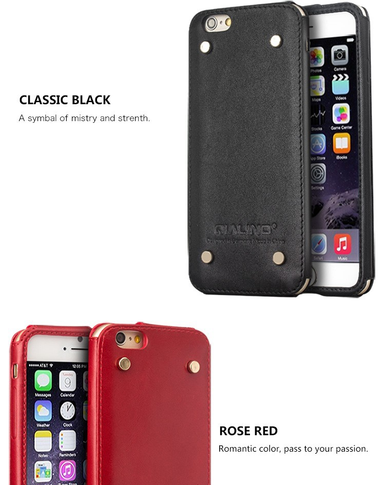 2015 Qialino Genuine Leather phone Case For iPhone 6 & 6s Cover for iphone 6&6s plus Case Top Handmade Pouch with Rivet Design