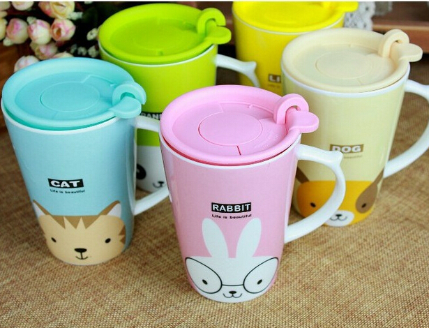 2016 zakka animal cat/dog/panda/lion/rabbit/giraffe ceramic coffee mug cups with lid and handle, cartoon couple mugs(China (Mainland))