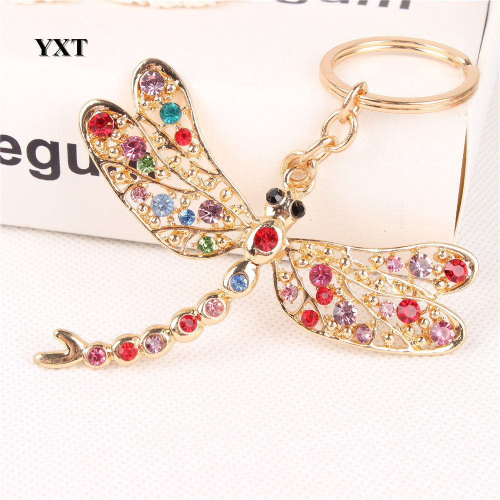 New Dragonfly Angel Wing Lovely Cute Crystal Charm Pendant Purse Handbag Car Key Ring Keychain Party Wedding Gift For Friend(China (Mainland))