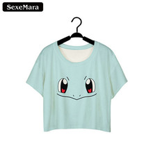 Buy SexeMara T-shirts 2017 Cartoon Pokemon Go Squirtle Printed Harajuku Short Sleeve Dew Navel Crop Tops Women Kawaii T Shirts F963 for $3.82 in AliExpress store